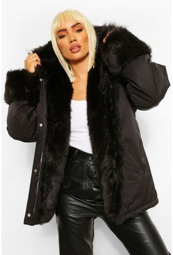 Black Tonal Faux Fur Trim Parka