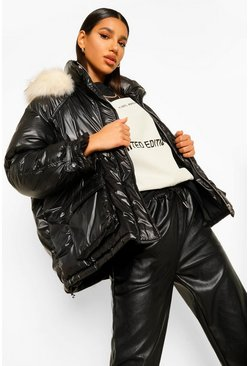 Black Faux Fur Trim Oversized Sporty Parka