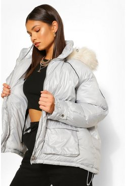 Silver grey grey Faux Fur Trim Oversized Sporty Parka