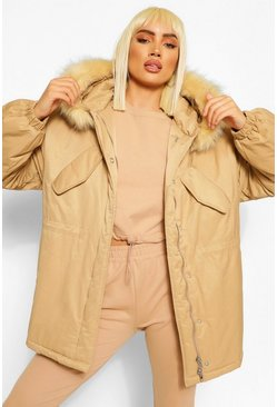 Gold metallic Tonal Faux Fur Trim Luxe Parka