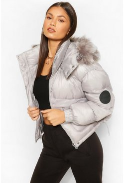 Grey Faux Fur Trim Crop Sporty Puffer