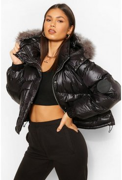 Black Faux Fur Trim Crop Sporty Puffer