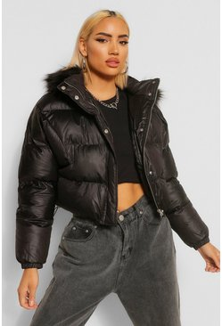 Black Faux Fur Trim Coated Satin Puffer