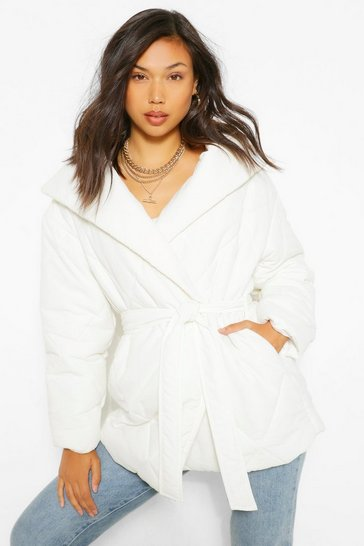 White Wrap Detail Belted Duvet Puffer