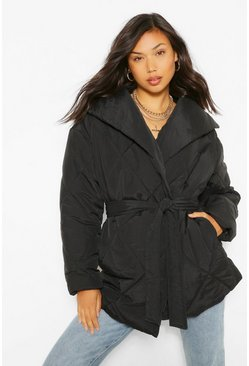 Black Wrap Detail Belted Duvet Puffer