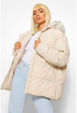 Taupe beige Faux Fur Trim Pocket Detail Mid Length Puffer