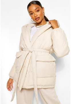 Taupe beige Wrap Detail Belted Hooded Puffer