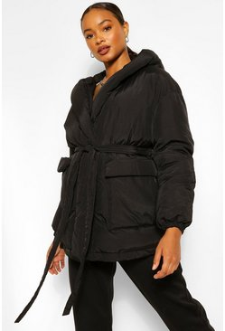 Black Wrap Detail Belted Hooded Puffer
