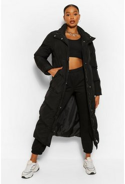 Black Maxi Quilted Funnel Neck Puffer