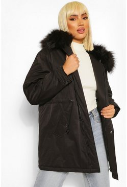 Black Faux Fur Trim Oversized Parka