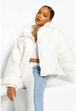 White Funnel Neck Oversized Puffer
