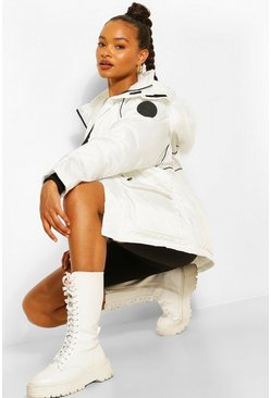 White Piping Detail Faux Fur Trim Parka
