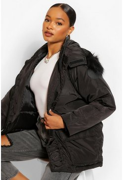 Black Piping Detail Faux Fur Trim Parka