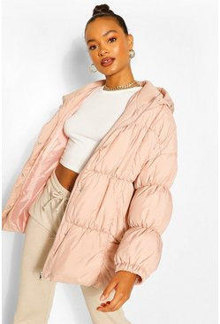 Pink Mid Length Oversized Puffer