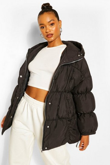 Black Mid Length Oversized Puffer