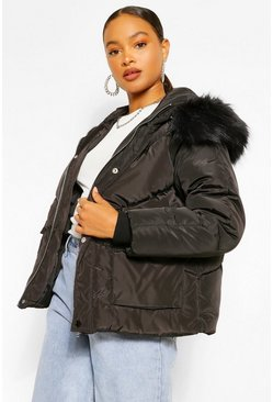 Black Faux Fur Trim Hooded Puffer