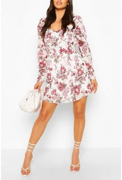 White Floral Puff Sleeve Skater