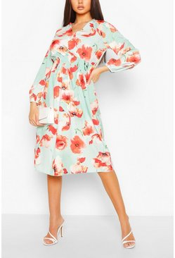 Mint Satin Poppy Print Wrap Midi Skater