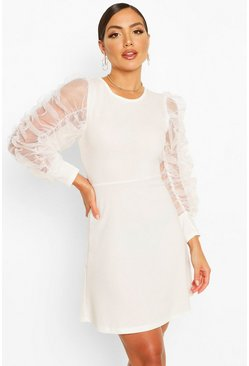 Mesh Rouched Sleeve Skater Dress, White