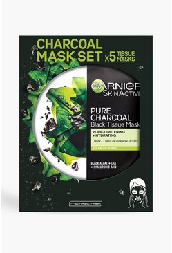 Zwart black Garnier Charcoal en Algae Face Sheet Mask 5pk