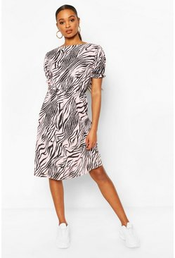 Pink Animal Print Slash Neck Rib Midi Dress