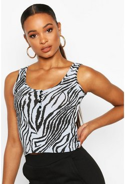 Blue Animal Print Button Front Rib Vest Top