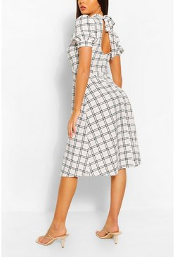 Contrast Check Midi Dress With Open Back, White bianco