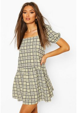 Contrast Check Smock Dress, Pistachio beige