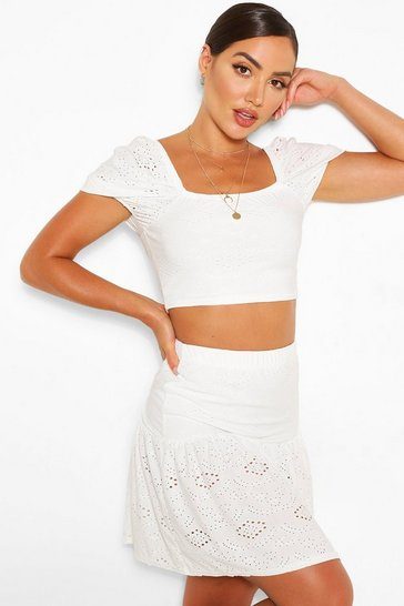 Ivory white Broderie Anglaise Gypsy Top & Skirt Co-ord