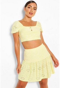 Lemon yellow Eyelet Anglaise Gypsy Top & Skirt Two-Piece