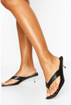 Black Low Pin Heel Toe Post Sandals