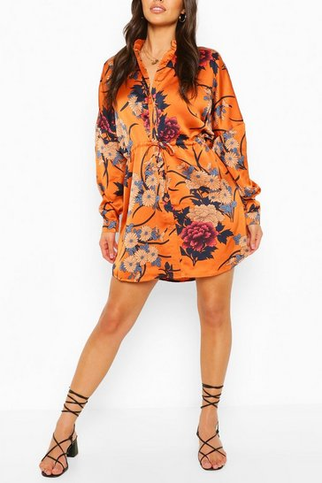 Cinnamon brown Floral Print Luxe Shirt Dress