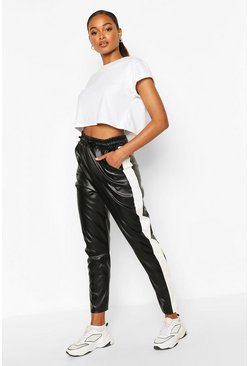 Black Leather Look Sports Stripe Panel Trouser