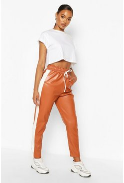Tan brown Leather Look Sports Stripe Panel Trouser
