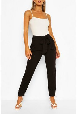 Black Relaxed Tie Front Woven Trousers