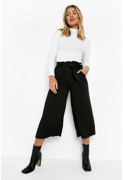 Black Relaxed Tie Waist Woven Culottes