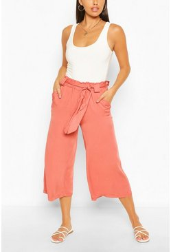 Rose pink Relaxed Tie Waist Woven Culottes