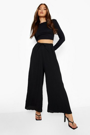 Black Pleated Longline Woven Trousers