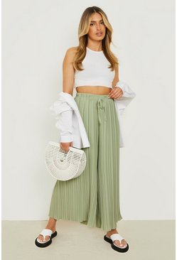 Sage green Pleated Longline Woven Trousers