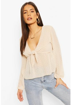 Nude Dobby Tie Front Smock Top