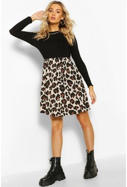 Black Leopard Contrast Sleeve Smock Dress