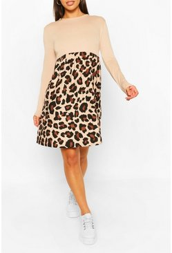 Stone Leopard Contrast Sleeve Smock Dress