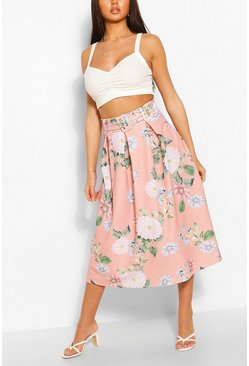 Blush Belted Floral Box Pleat Midi Skirt