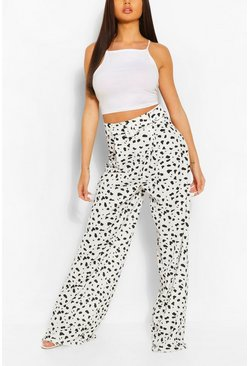 Ivory Animal Print Pleat Front Super Wide Leg Trouser