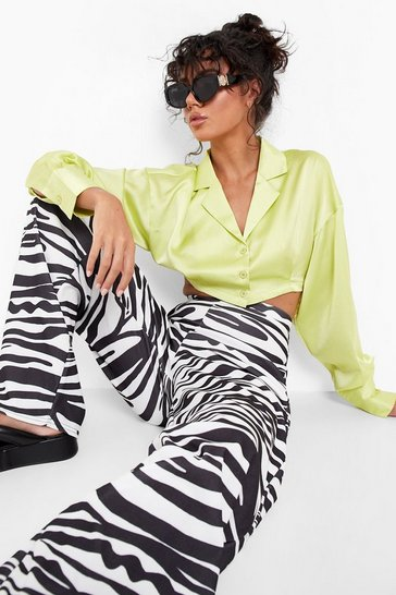 Ivory white Zebra Print Wide Leg Trousers