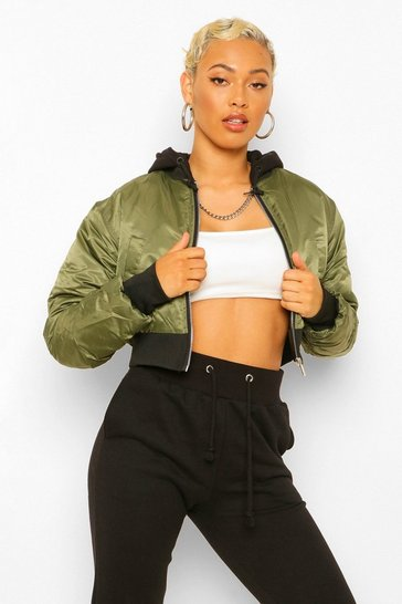 Khaki Jersey Hooded Crop Bomber