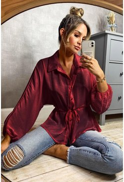 Berry red Hammered Satin Ruched Waist Blouse