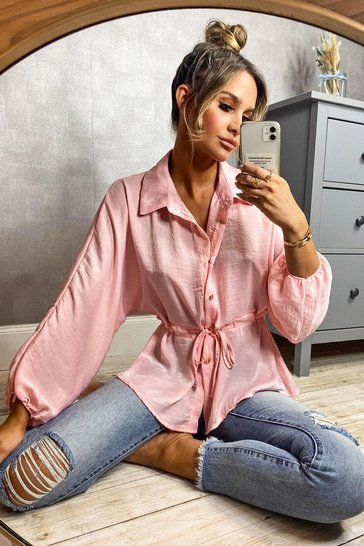 Rose pink Pink Hammered Satin Ruched Waist Blouse