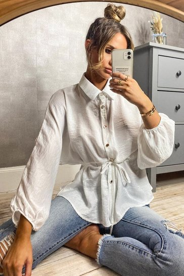 White Hammered Satin Ruched Waist Blouse