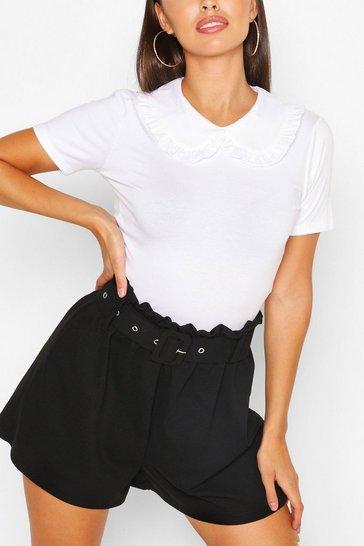 White Cotton Collar Button Detail T-Shirt